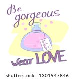 hand drawn perfume with slogan... | Shutterstock .eps vector #1301947846