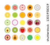 natural organic fruits icon set.... | Shutterstock .eps vector #1301958319