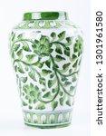 Ceramic Vase With White Green...