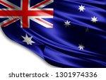 australia flag of silk 3d... | Shutterstock . vector #1301974336