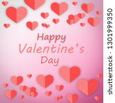 close up red heart with pink... | Shutterstock . vector #1301999350