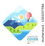 colorful landscape illustration....   Shutterstock .eps vector #1302057586