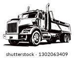 dump truck. black and white... | Shutterstock .eps vector #1302063409