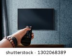 watching television concept.... | Shutterstock . vector #1302068389