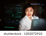 young asian woman using... | Shutterstock . vector #1302072910