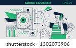 sound engineer line character | Shutterstock .eps vector #1302073906
