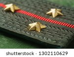 Russian army epaulettes close up, side view