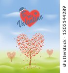 valentine's day greeting card... | Shutterstock .eps vector #1302144289
