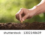 human's hand planting seeds in... | Shutterstock . vector #1302148639