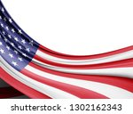 america flag of silk with... | Shutterstock . vector #1302162343