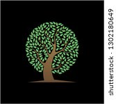 tree icon vector with black... | Shutterstock .eps vector #1302180649