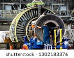 jet engine remove from aircraft ... | Shutterstock . vector #1302183376