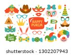 purim holiday cute carnival... | Shutterstock .eps vector #1302207943
