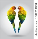 green parrot bird low polygon... | Shutterstock .eps vector #1302214330