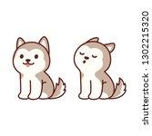cute cartoon husky puppy... | Shutterstock . vector #1302215320