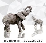 two elephants with reflections... | Shutterstock .eps vector #1302257266