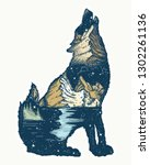 wolf double exposure. tattoo... | Shutterstock .eps vector #1302261136