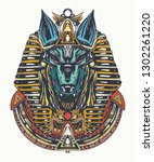 anubis tattoo and t shirt... | Shutterstock .eps vector #1302261220
