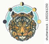 tiger head. tattoo and t shirt... | Shutterstock .eps vector #1302261250