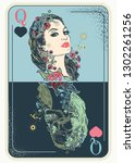 queen playing card. tattoo and... | Shutterstock .eps vector #1302261256