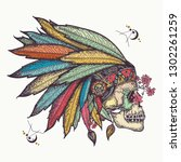 indian skull. tattoo and t... | Shutterstock .eps vector #1302261259