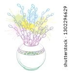 vector bouquet with outline... | Shutterstock .eps vector #1302296629