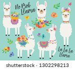 Cute Llamas Or Alpacas With...