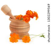 wooden pestle and mortar and... | Shutterstock . vector #1302299569
