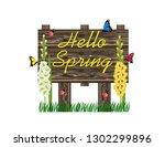 hello spring wooden sign | Shutterstock .eps vector #1302299896