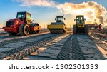 Roller Compacts Soil In...