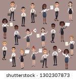 set office workers. business... | Shutterstock .eps vector #1302307873