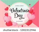 Stock vector happy valentine day congratulation banner with red and pink heart shapes vector illustration 1302312946