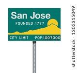 san jose city limit road sign | Shutterstock .eps vector #1302315049