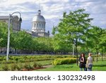 MONTREAL, CA- JUNE 09: Bonsecours Market, and Lifestyle on June 09 , 2010 in Montreal,CA Montreal has prominent buildings in a variety of styles by many famous architects - stock photo