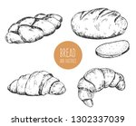 set of hand drawn sketch bakery ... | Shutterstock .eps vector #1302337039