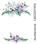 watercolor orchids and leaves ... | Shutterstock . vector #1302337453