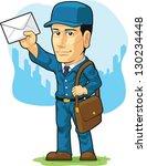 cartoon of postman or mailman | Shutterstock .eps vector #130234448