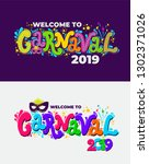 set of welcome to carnival 2019.... | Shutterstock .eps vector #1302371026