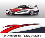 racing car decal wrap vector... | Shutterstock .eps vector #1302392356