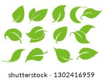 leaves icon vector set isolated ... | Shutterstock .eps vector #1302416959