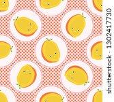 cute mango fruit polka dot... | Shutterstock .eps vector #1302417730