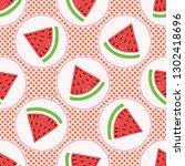 cute watermelon polka dot...   Shutterstock .eps vector #1302418696