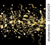 gold sparkling confetti flying... | Shutterstock .eps vector #1302426529