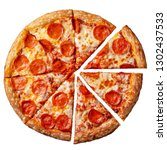 tasty pepperoni pizza. top view ... | Shutterstock . vector #1302437533