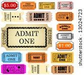 set of ticket admit one vector | Shutterstock .eps vector #13024723