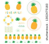 cute yellow pineapple vector... | Shutterstock .eps vector #1302475183