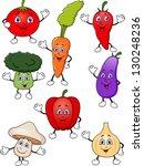 vegetable cartoon set   Shutterstock .eps vector #130248236