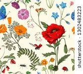 nature vector seamless pattern. ...   Shutterstock .eps vector #1302483223