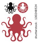 octopus. isolated icons on... | Shutterstock .eps vector #130248524