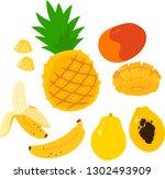 tropical fruit illustration set   Shutterstock .eps vector #1302493909